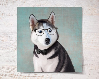 Siberian Husky print, Husky poster print pet gift funny print dog print pet portrait illustration fine art print wall decor