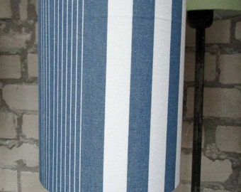Blue and white striped lamp shade