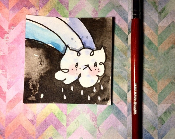 """Watercolor and ink Painting """"Cat Cloud"""" 3x3 inches drawing / decoration."""