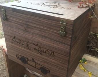 Wedding Card Box, Rustic Wedding, Wedding Gift, Card Box, Wedding Box, Rustic Card Box, Engraved, Personalized Card Box
