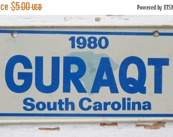 ON SALE Vintage, South Carolina, 1980, Bike Plate, Bicycle, License Plate, Cereal Premium, Miniature, Tin, Collectibles