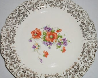 ON SALE Vintage The Sabina 22K Souvenier Plate,Flowers, Gold, Orange, Red, Purple, Green,  Howard Lake Mn. Cottage Chic, Shabby Chic