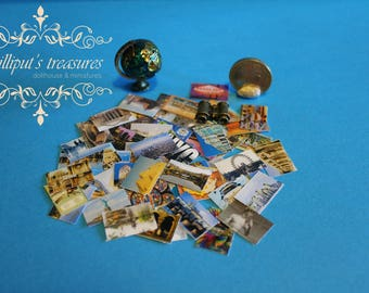 Dollhouse miniature set of 50 different post cards
