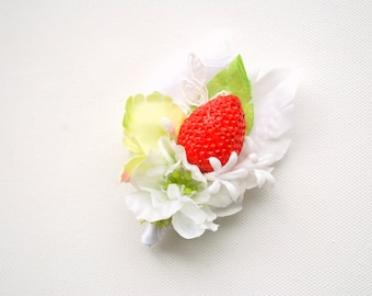Red Strawberry White Green Grooms Boutonniere, Strawberry Wedding Accessories, White Red Green Groomsmen Boutonniere, Strawberry Boutonniere