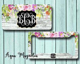 monogrammed floral license plate personalized license plate frame personalized license plate set monogrammed - Monogram License Plate Frame