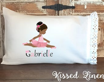 Personalized African American Ballerina White Toddler Travel Pillowcase Soft 100% Cotton Flour Sack Fabric Eyelet Lace Ruffle Shabby Bedding