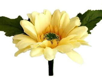 Yellow Silk Daisy Boutonniere - Groom Wedding Boutonniere