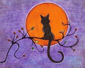 Black Cat/ Aspen Tree/ Orange Moon( Purple Bkgd) Greeting Cards - Note Cards. Includes White Envelopes. Blank Inside.