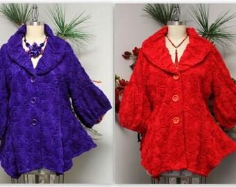 Artsy Jacket,High end jacket, European Jacket, Designer Jacket, Lace Ribbon jacket, Size Small to 3XL