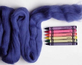 CORRIEDALE WOOL ROVING / Blueberry Blue 1 ounce / corriedale roving for needle felting, wet felting, nuno felting, spinning, saori weaving