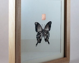 Framed Original Artwork, Detailed Ink Painting of a Butterfly with Copper Leaf, Unique and Genuine Art, Collectible, Maple, Fine Art