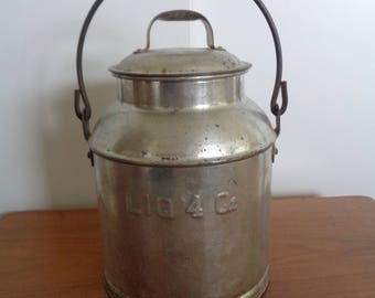 Vintage 1 Gal. Tin Milk Can / Jug with Cover