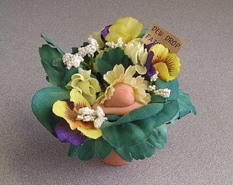 Dew Drop Fairies Clay Pot miniatures Floral Flower Pot Sprites