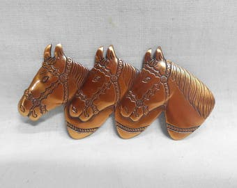 "Vintage Copper Brooch Three (3) Horse Heads Fancy Bridles Very Detailed Pin Equestrian 3"" x 1.5"""