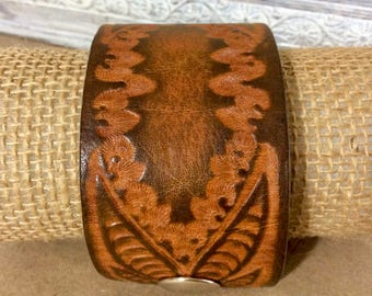 Brown Tooled Leather Cuff Bracelet - Rustic Statement Bracelet - Distressed Leather Cuff - Boho Cuff -Indie Jewelry -Unisex Leather Cuff