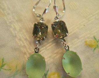 SUPER SALE Vintage green glass and grey rhinestone earrings.