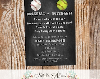 Baseball or Softball Baby Shower Gender Reveal Party Invitation - wording can be changed