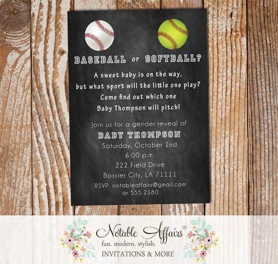 Baseball or softball baby shower gender reveal party invitation il570xn stopboris Choice Image