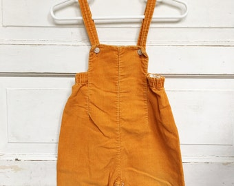 Vintage Pumpkin cord overalls/ toddler vintage-boy/girl retro clothing size 12M