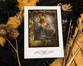 """Fine Art Giclee Print A4 of """"Eros and Thanatos"""", signed by stamping - Protected by a thick black board and packaged in transparent blister."""