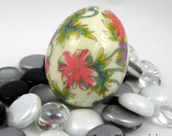 Japanese Washi Easter Egg Pink and Purple Floral Hand Decorated Chicken Egg