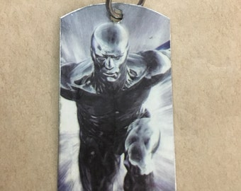 Silver Surfer Upcycled Comic Book Dog Tag, includes necklace or key ring. Silver Surfer dog tag. Silver Surfer keychain.
