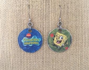 Spongebob Squarepants Upcycled Comic Book Earrings
