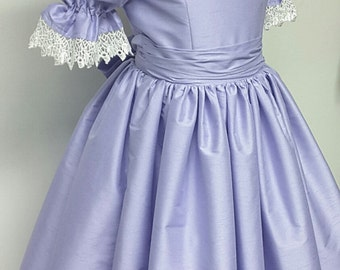Princess Flower Girl Dress with Ruffles, Collar, and Puffy Sleeves, Girls Victorian Style Dress. Weddings, Birthday. Party. Ballet.