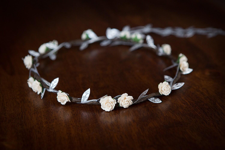 Ivory rose silver flower crown weddings bridesmaids christmas ivory rose silver flower crown weddings bridesmaids christmas izmirmasajfo Image collections