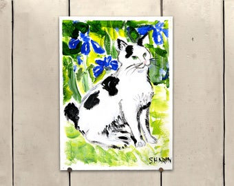 """Black and White Cat Original Art 9x11.5"""" One of a Kind 100% of the profits go directly to artists with disabilities Item 77 Sharon M."""