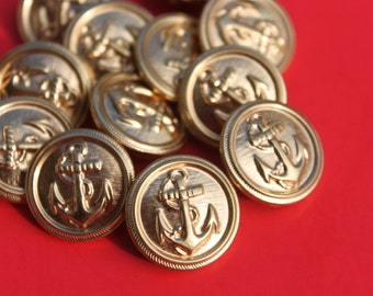 Vintage Naval Anchor Round Brass Metal Buttons, 3/4 inch Gold Colored Sports Coat Jacket Buttons, Shankback Jewelry Craft Buttons Lot