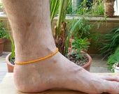 orange manklet men's anklet beach surf seed bead vacation jewellery