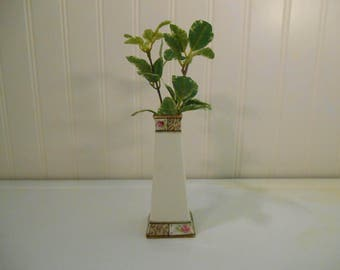 Nippon flower vase, Vintage flower vase, Vintage vase with roses and leaves, Gifts, Hand painted vase, Collectible vases, Square vase