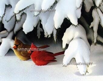 Christmas Decor Restored Art Print, Cardinals Under Snowy Tree #614