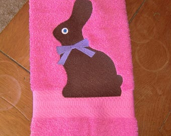 Embroidered Terry  Hand Towel -  Easter - Chocolate Bunny on Pink Towel