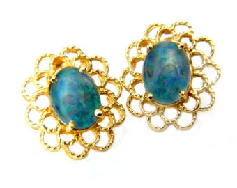 14K Gold Blue Opal Earrings Filigree Vintage Estate Gemstone Jewelry Gift For Women, Bride, Mother, Wife, Coupon Sparkle2017 15% Discount
