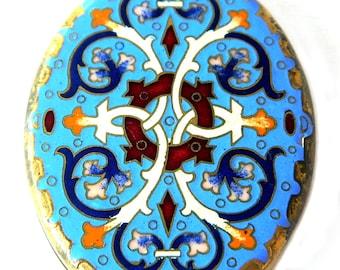 Antique Enamel Brass Locket Necklace Pendant Statement Size 1920s Asian Style Slide Open Locket Jewelry Gift For Women Periwinkle Blue