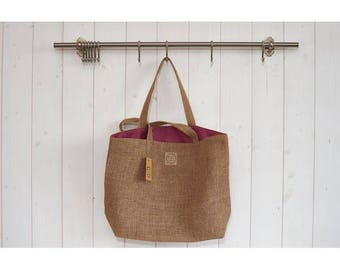 basket bag for shopping, picnics, beach burlap lined with purple pink coated linen