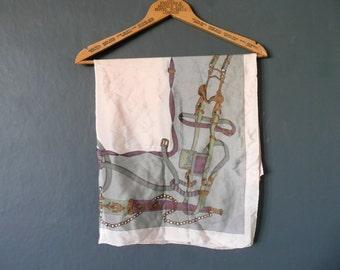 Vintage silk scarf -  equestrian silk scarf - vintage equestrian silk scarf - pink grey and purple equestrian silk scarf