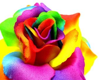 "3.75"" Rainbow Silk Rose Heads (Pack of 4) - Fabric - Artificial Flower, Wholesale Lot, Wedding Decoration"