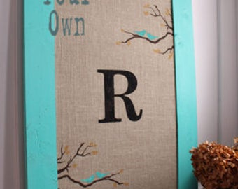 Extra Large Burlap Cork Board - Bird and Branch Design - Custom - Design Your Own Distressed Framed Message Board-Pin Board-Monogram-24x36