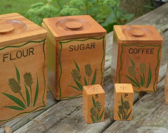 eb1891 CANISTERS 1950s Wooden Nesting Flour Sugar Coffee Tea with Salt & Pepper Dovetailed Painted Larkspur Flower Decor eb1891