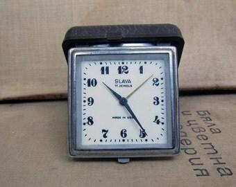 Soviet alarm Clock Slava, Vintage Dark Brown bakelite half Case, Alarm Clock, Metal Body clock - USSR era 1980s - collectible clock