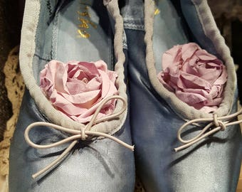 Blue Ballet Pointe Shoes with Ribbons ~ Shabby & Chic