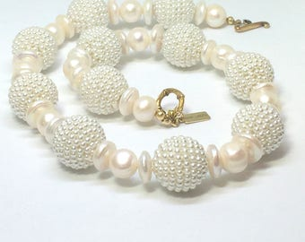 ARTISAN PEARL NECKLACE - Handcrafted - Freshwater Pearls - Faux Pearl Baubles - Toggle Clasp - One of a kind