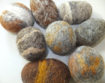 8 Wool pebbles, Rusty brown and grey felt stones x 8 Home decoration.
