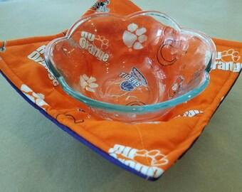 Clemson Microwave Bowl Cozy, Reversible Microwave Bowl Potholder, Tiger Paw Reversible Bowl Holder, Teacher, Hostess, Housewarming Gift