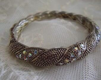 Vintage Siler Tone Rhinestone Bangle Bracelet
