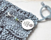 Eat Sleep Knit / Knitting Progress Marker  / Removable Stitch Marker / Crochet Stitch Marker / Locking Stitch Marker