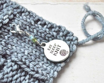 Eat Sleep Knit / Knitting Progress Marker  / Removable Stitch Marker / Crochet Stitch Marker / Locking Stitch Marker